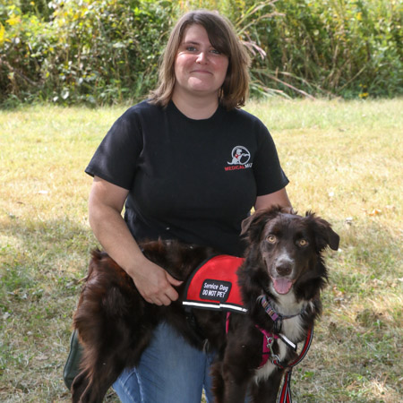 Medical Mutts trainer Bonnie Hambach with a rescued service dog