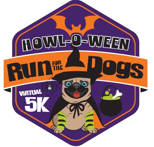 Howl-o-Ween run for the dogs virtual run logo
